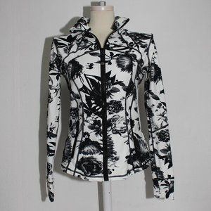 Lululemon Brisk Bloom Black White Floral Jacket